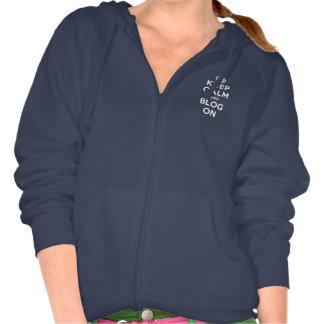 Guarde la calma y el blog encendido jersey con capucha