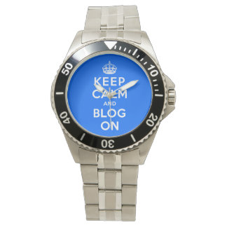 Guarde la calma y el blog encendido relojes de pulsera