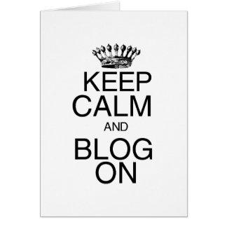 Guarde la calma y el blog encendido tarjeta pequeña