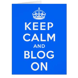 Guarde la calma y el blog encendido tarjeta de felicitación grande