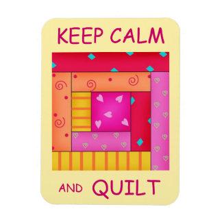 Guarde la calma y el bloque colorido de la cabaña  imán de vinilo
