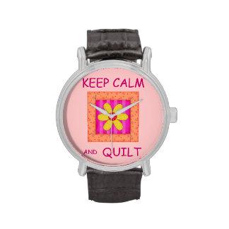 Guarde la calma y el bloque de la flor del Appliqu Relojes De Mano