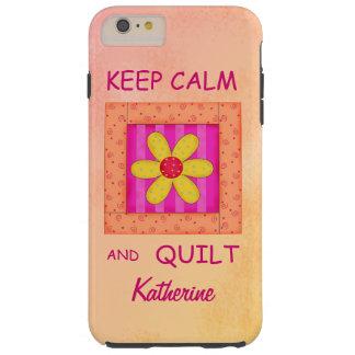 Guarde la calma y el bloque del edredón funda resistente iPhone 6 plus