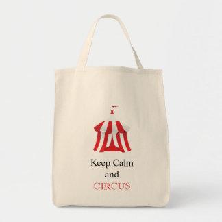 Guarde la calma y el bolso del circo bolsa tela para la compra