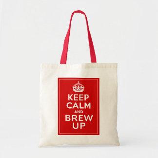 Guarde la calma y el Brew encima de la diversión d Bolsa Tela Barata