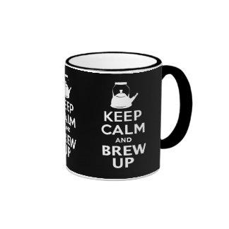 Guarde la calma y el Brew encima del humor Taza De Dos Colores