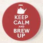 Guarde la calma y el Brew encima del práctico de c Posavaso Para Bebida