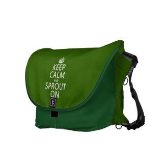 Guarde la calma y el brote encendido bolsa messenger