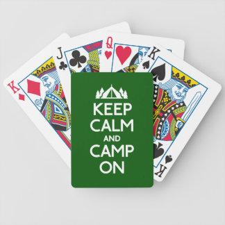 Guarde la calma y el campo encendido cartas de juego