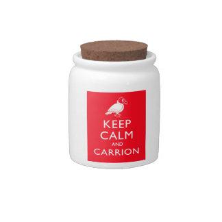 Guarde la calma y el Carrion Platos Para Caramelos