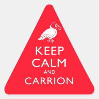 Guarde la calma y el Carrion Pegatina Triangular