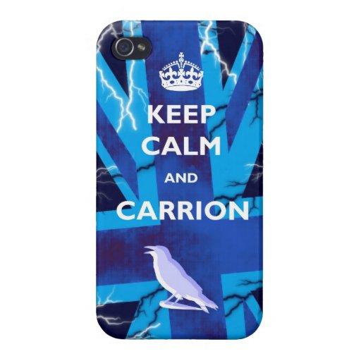 Guarde la calma y el caso brillante de IPhone 4 de iPhone 4/4S Carcasa