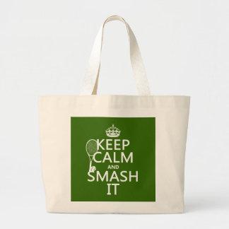 Guarde la calma y el choque él (tenis) (cualquier  bolsa tela grande