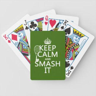 Guarde la calma y el choque él tenis cualquier barajas de cartas