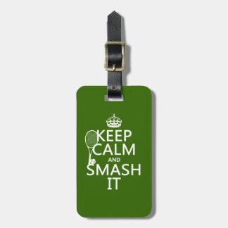 Guarde la calma y el choque él (tenis) (cualquier  etiqueta de maleta