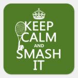 Guarde la calma y el choque él (tenis) (cualquier  calcomanía cuadradas personalizada
