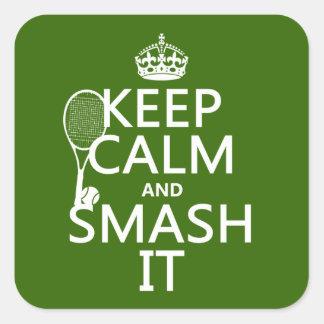 Guarde la calma y el choque él (tenis) (cualquier pegatina cuadrada