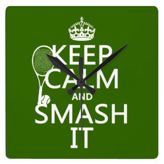 Guarde la calma y el choque él (tenis) (cualquier reloj cuadrado