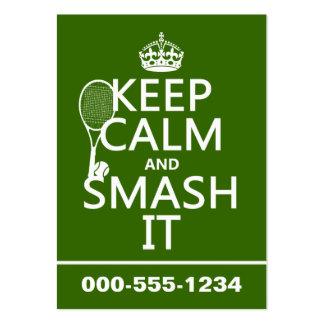 Guarde la calma y el choque él (tenis) (cualquier  tarjetas de visita grandes