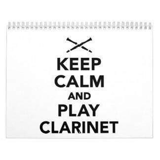 Guarde la calma y el clarinet del juego calendario