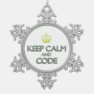 Guarde la calma y el código adornos