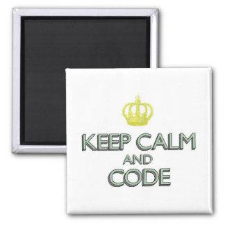 Guarde la calma y el código imán cuadrado