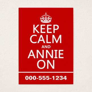 Guarde la calma y el color de encargo de Annie Tarjetas De Visita Grandes