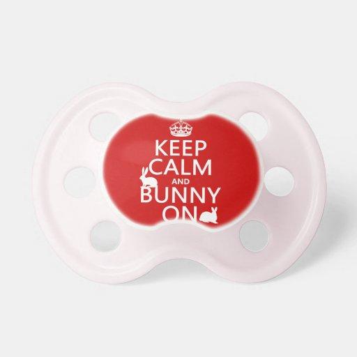 Guarde la calma y el conejito encendido - todos lo chupete de bebe