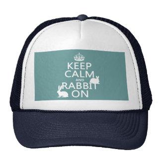Guarde la calma y el conejo encendido - todos los  gorros bordados
