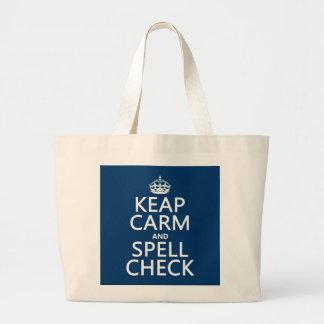 Guarde la calma y el control de encanto (con los e bolsas de mano