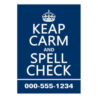 Guarde la calma y el control de encanto con los e plantilla de tarjeta de visita