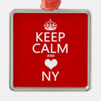 Guarde la calma y el corazón Nueva York (los Adorno Cuadrado Plateado