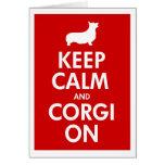 Guarde la calma y el Corgi en Pembroke Tarjetas