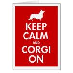 Guarde la calma y el Corgi en rebeca Tarjeta