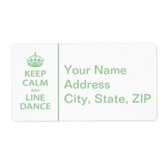 Guarde la calma y el cuerpo de baile etiquetas de envío