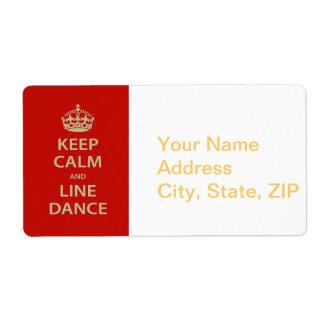 Guarde la calma y el cuerpo de baile etiqueta de envío