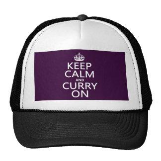 Guarde la calma y el curry en (el personalizable) gorros