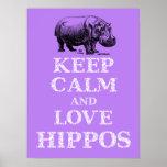 Guarde la calma y el diseño del poster de Hippotam