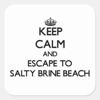 Guarde la calma y el escape a la playa salada etiqueta