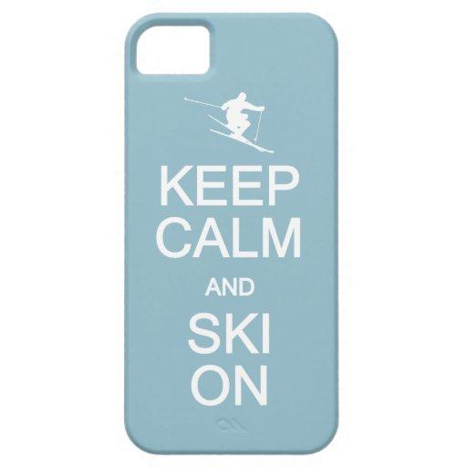Guarde la calma y el esquí en el caso de encargo iPhone 5 carcasa