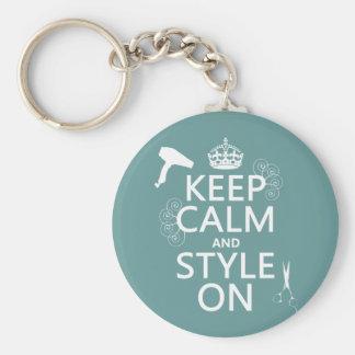 Guarde la calma y el estilo en (cualquier color de llavero redondo tipo pin