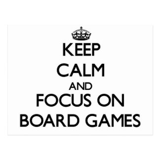 Guarde la calma y el foco a bordo juegos postal