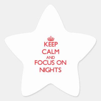 Guarde la calma y el foco el noches calcomanías forma de estrella