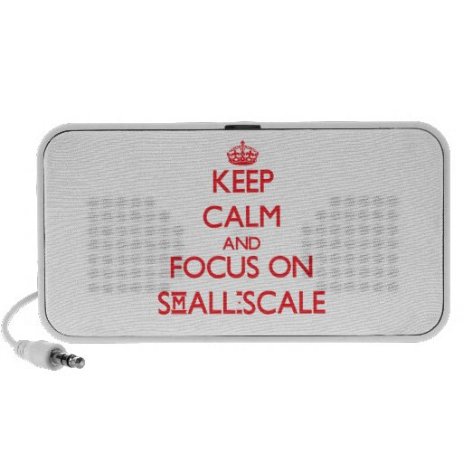 Guarde la calma y el foco en a escala reducida mp3 altavoz