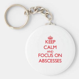 Guarde la calma y el foco en ABSCESOS Llavero Personalizado