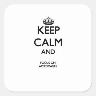 Guarde la calma y el foco en accesorios calcomania cuadradas personalizada