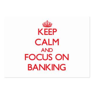 Guarde la calma y el foco en actividades bancarias tarjetas de visita