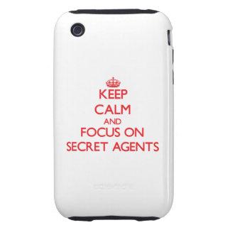Guarde la calma y el foco en agentes secretos iPhone 3 tough cárcasa