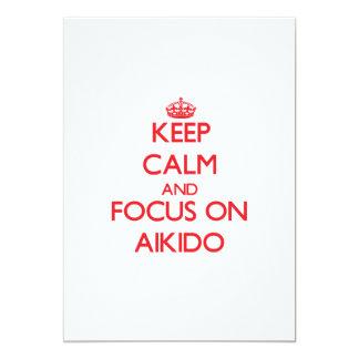 Guarde la calma y el foco en Aikido Invitación 12,7 X 17,8 Cm
