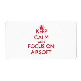 Guarde la calma y el foco en Airsoft Etiquetas De Envío